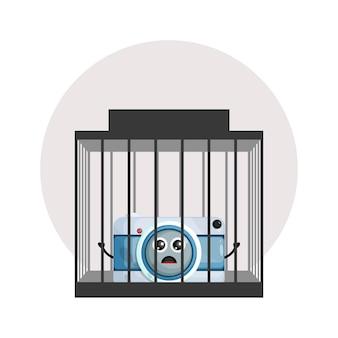 Logotipo do personagem fofo da câmera da prisão