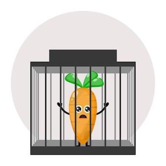Logotipo do personagem fofo da cenoura da prisão
