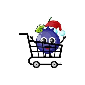 Logotipo do personagem fofo de compras de natal de mirtilo
