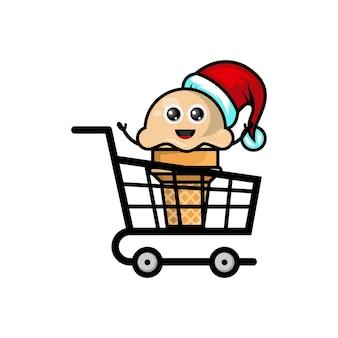 Logotipo do personagem fofo de compras de sorvete de natal