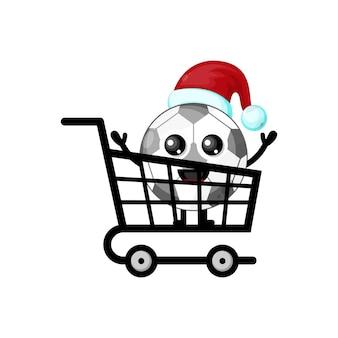 Logotipo do personagem fofo de futebol de compras de natal
