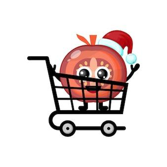 Logotipo do personagem fofo de tomate de compras de natal