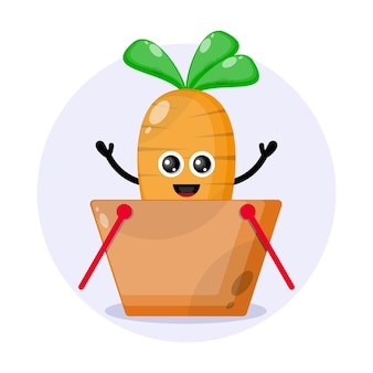 Logotipo do personagem fofo do carrinho de compras de cenoura