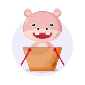 Logotipo do personagem fofo do carrinho de compras hipopótamo
