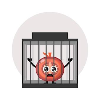 Logotipo do personagem fofo do tomate da prisão