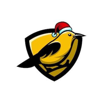 Logotipo do personagem fofo pássaro amarelo de natal