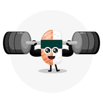 Logotipo do personagem fofo sushi fitness