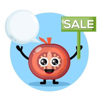 Logotipo do personagem fofo venda de tomate