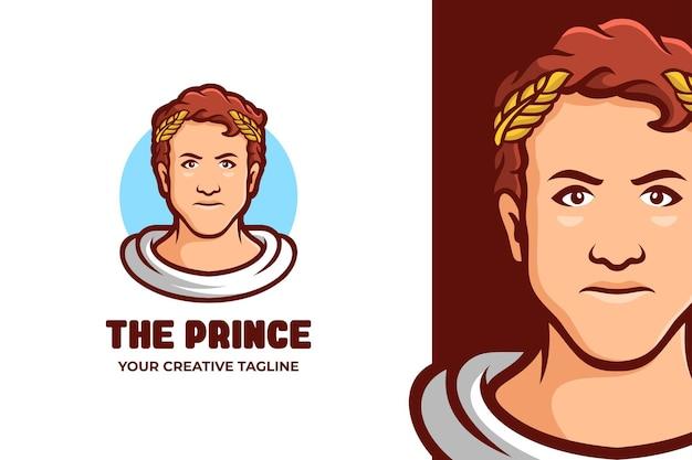 Logotipo do personagem grego jovem príncipe mascote