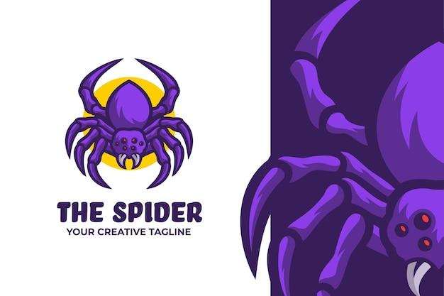 Logotipo do personagem mascote aranha roxo