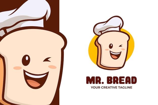 Logotipo do personagem mascote bread bakery