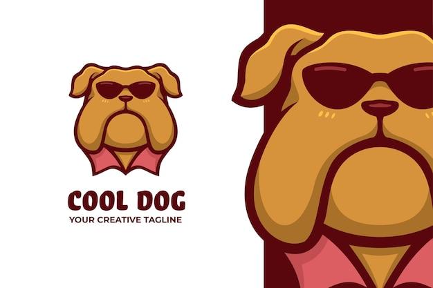 Logotipo do personagem mascote com óculos de cachorro