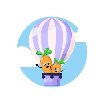 Logotipo do personagem mascote da cenoura em balão de ar quente