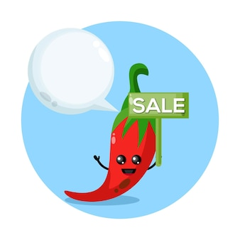 Logotipo do personagem mascote da venda de chili