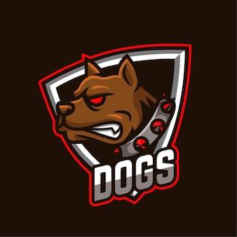 Logotipo do personagem mascote de e-sports de cães