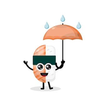 Logotipo do personagem mascote de guarda-chuva de sushi Vetor Premium