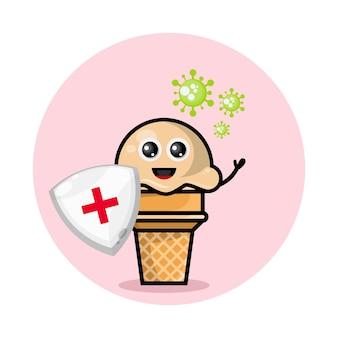 Logotipo do personagem mascote de proteção contra vírus de sorvete