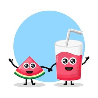 Logotipo do personagem mascote de vidro de suco de melancia