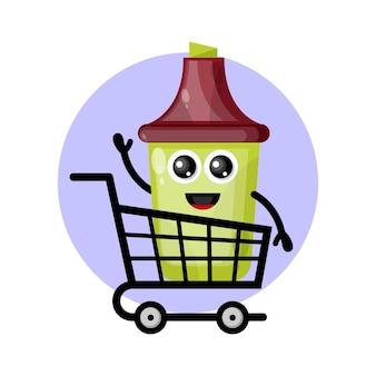 Logotipo do personagem mascote do carrinho de compras marca-texto