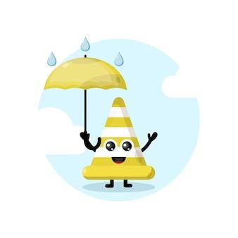 Logotipo do personagem mascote do cone de trânsito guarda-chuva