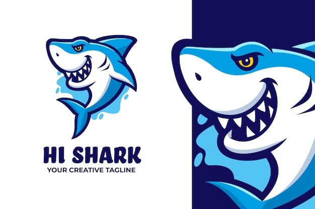 Logotipo do personagem mascote do tubarão assustador
