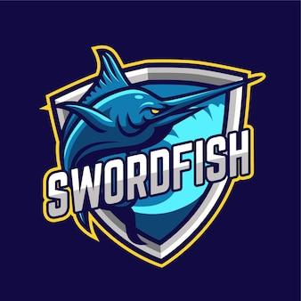 Logotipo do personagem mascote dos esportes eletrônicos swordfish