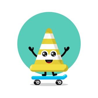 Logotipo do personagem mascote skate cone de trânsito