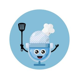 Logotipo do personagem mic chef mascote