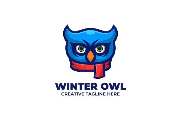 Logotipo do personagem owl wear shawl mascot