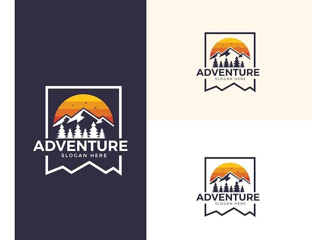 Logotipo do pico da aventura vintage