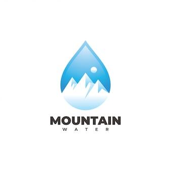 Logotipo do pico de montanha e da gota de água