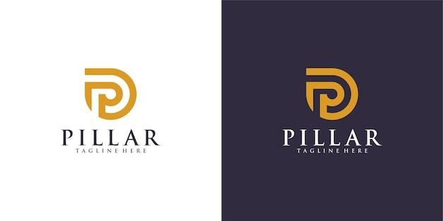 Logotipo do pilar de luxo para design de ilustração de escritório de advocacia. Vetor Premium