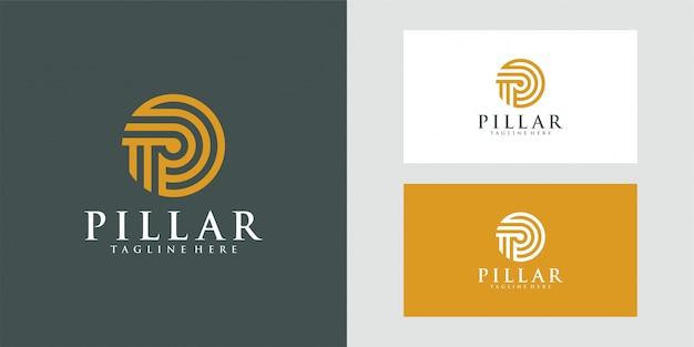 Logotipo do pilar de luxo para design de ilustração de firma de advogados.