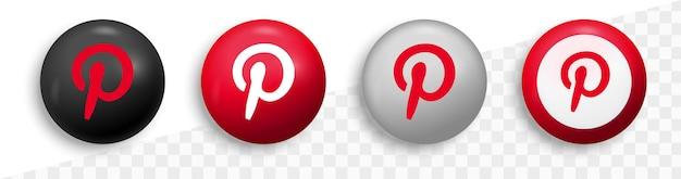 Logotipo do pinterest em círculo moderno redondo para ícones de mídia social
