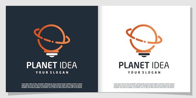 Logotipo do planeta com conceito de tecnologia de ideia premium vector