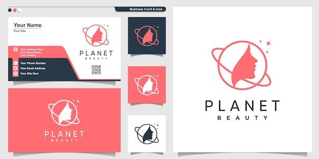 Logotipo do planeta com estilo de arte de linha de mulher de beleza e modelo de design de cartão de visita