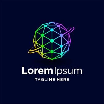 Logotipo do planeta digital com conceito de cor gradiente
