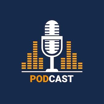 Logotipo do podcast com ilustração de onda de música de microfone. desenho de ilustração vetorial.