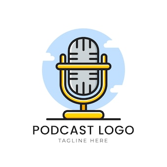 Logotipo do podcast com microfone