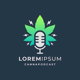 Logotipo do podcast com modelo de folha de cannabis