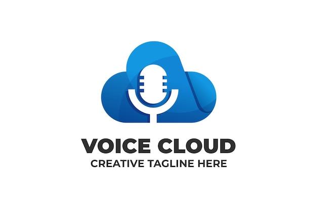 Logotipo do podcast da nuvem do microfone