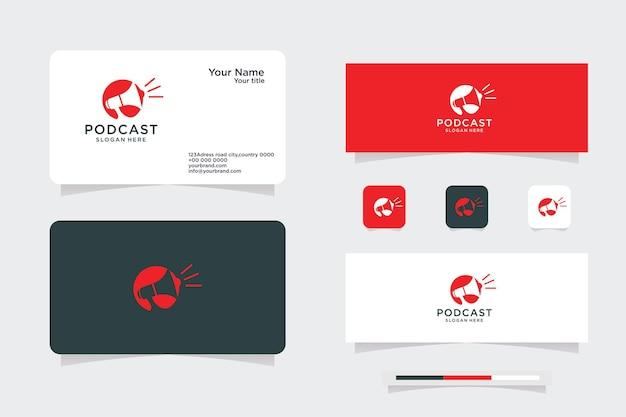 Logotipo do podcast, logotipo do conceito de gravação de áudio e design de cartão de visita