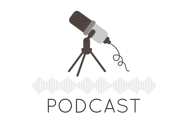 Logotipo do podcast. o ícone do microfone e a imagem do som. ícone de podcast de rádio. microfone de estúdio para webcast, gravação de podcast de áudio ou show online. conceito de gravação de áudio. ilustração vetorial.