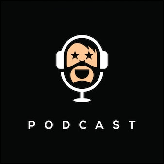 Logotipo do podcast, um logotipo simples e exclusivo para o seu canal de podcast, elemento de design