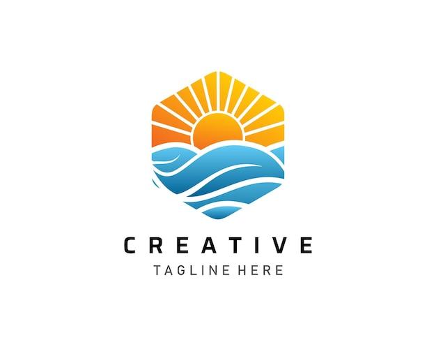 Logotipo do pôr do sol tropical moderno, design de logotipo de turismo e viagens Vetor Premium