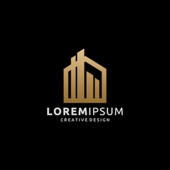 Logotipo do prédio de ouro