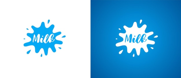 Logotipo do produto de leite de vaca. design de logotipo de identidade de marca lática natural fresco. sinal de respingo de laticínios para a marca registrada da empresa, vetor eps ilustrações
