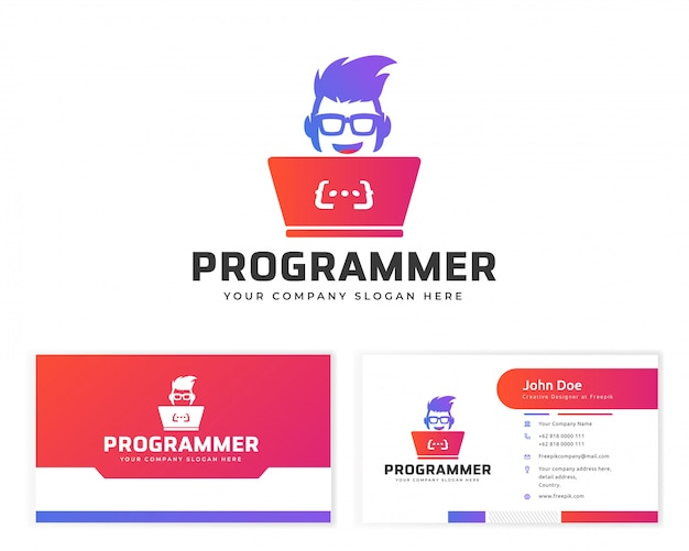 Logotipo do programador com cartão de papelaria