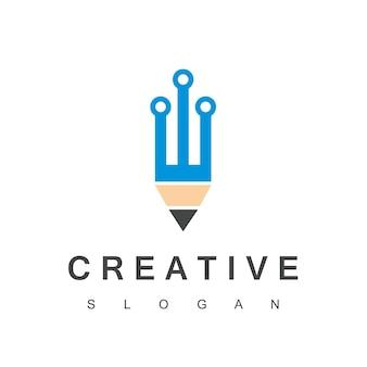 Logotipo do programador criativo com símbolo de tecnologia