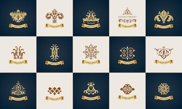 Logotipo do projeto conjunto de elementos de decoração elegante